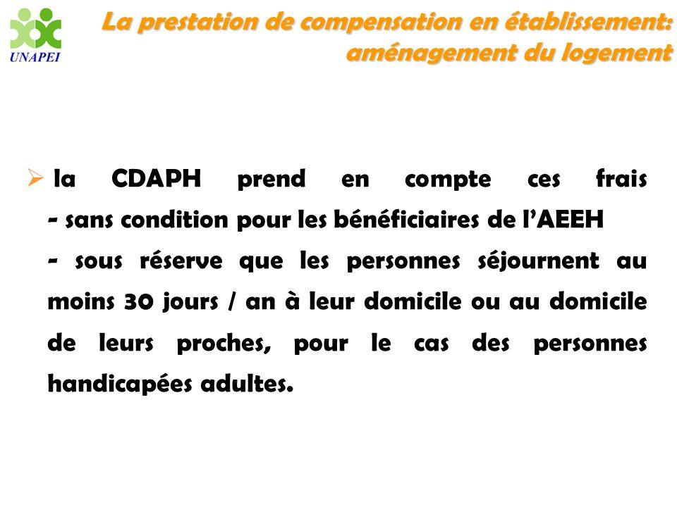 La prestation de compensation en établissement: aménagement du logement la CDAPH prend en compte ces frais - sans condition pour les bénéficiaires de