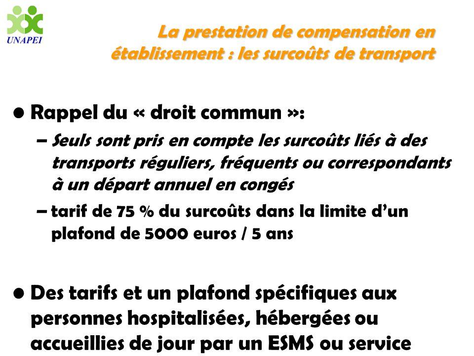 La prestation de compensation en établissement : les surcoûts de transport Rappel du « droit commun »: –Seuls sont pris en compte les surcoûts liés à