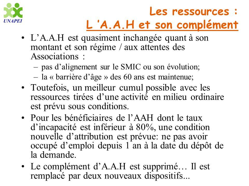 Les ressources : L A.A.H et son complément LA.A.H est quasiment inchangée quant à son montant et son régime / aux attentes des Associations : –pas dal