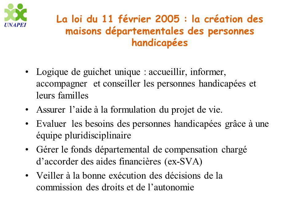 La loi du 11 février 2005 : la création des maisons départementales des personnes handicapées Logique de guichet unique : accueillir, informer, accomp