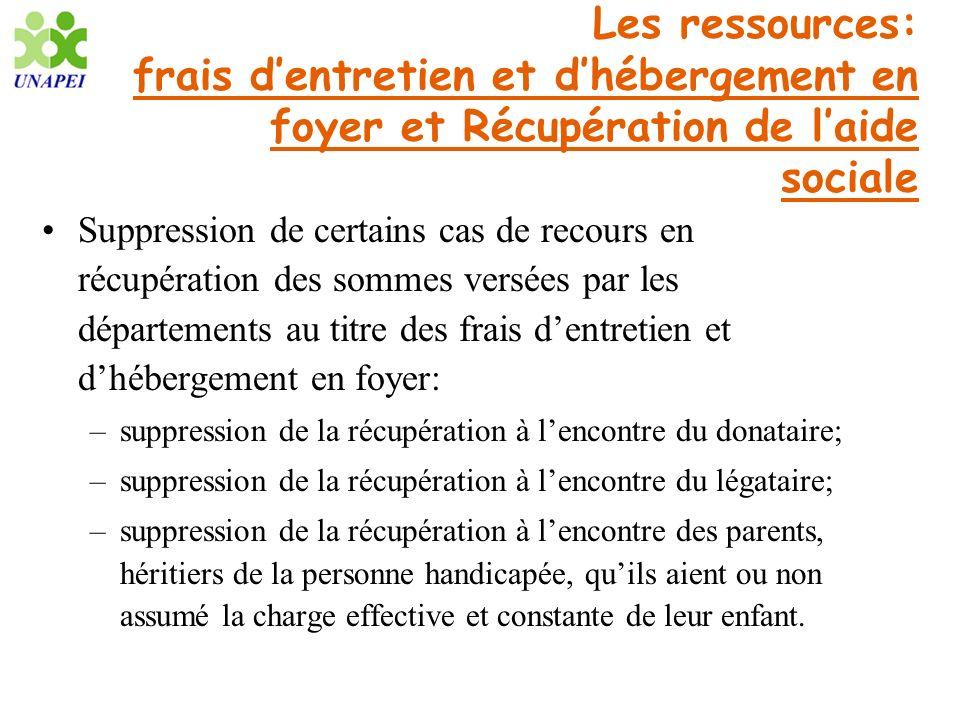 Les ressources: frais dentretien et dhébergement en foyer et Récupération de laide sociale Suppression de certains cas de recours en récupération des
