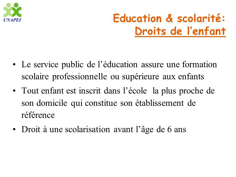 Education & scolarité: Droits de lenfant Le service public de léducation assure une formation scolaire professionnelle ou supérieure aux enfants Tout