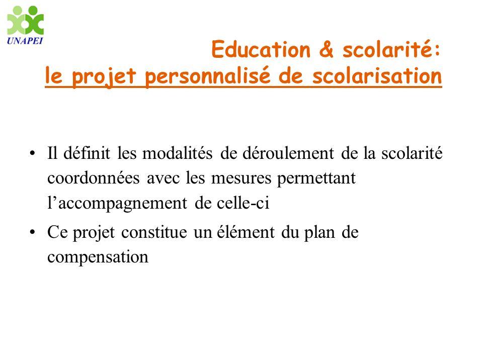 Education & scolarité: le projet personnalisé de scolarisation Il définit les modalités de déroulement de la scolarité coordonnées avec les mesures pe