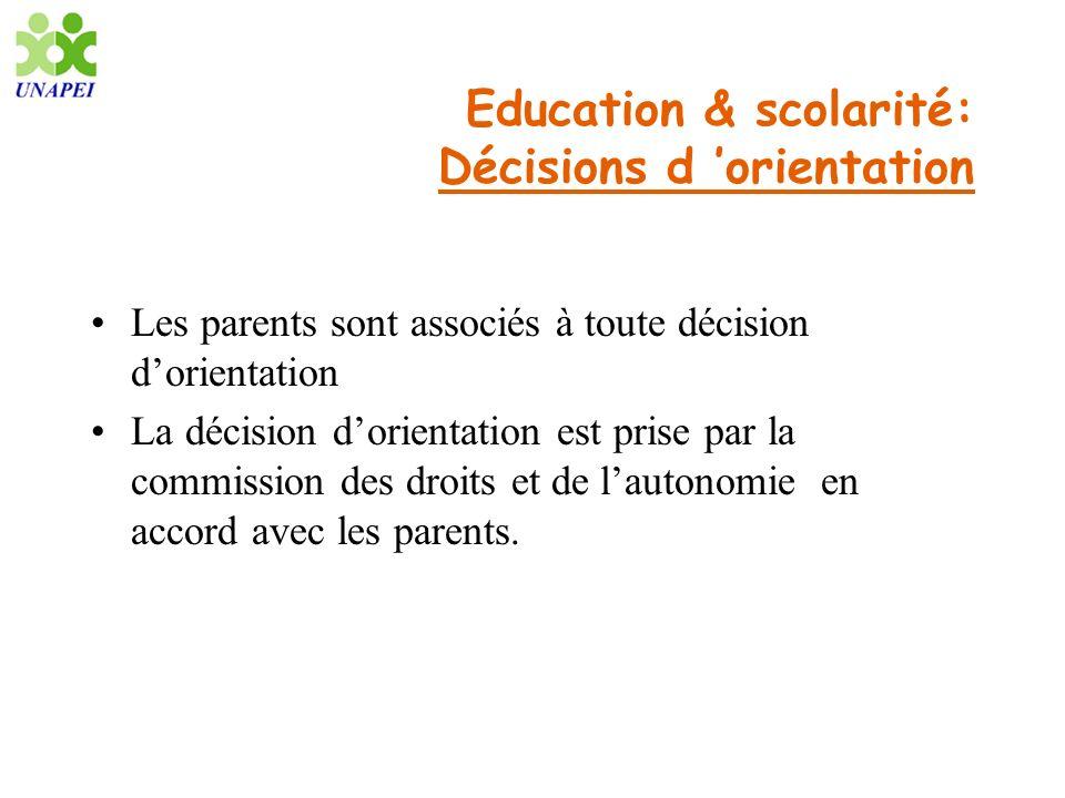 Education & scolarité: Décisions d orientation Les parents sont associés à toute décision dorientation La décision dorientation est prise par la commi