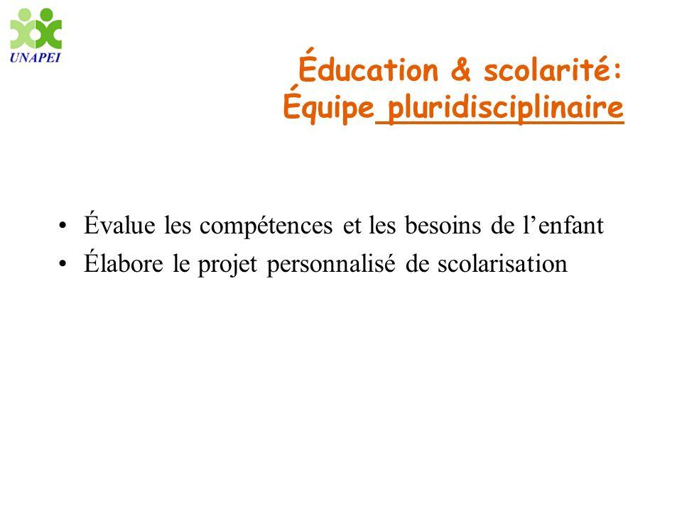 Éducation & scolarité: Équipe pluridisciplinaire Évalue les compétences et les besoins de lenfant Élabore le projet personnalisé de scolarisation