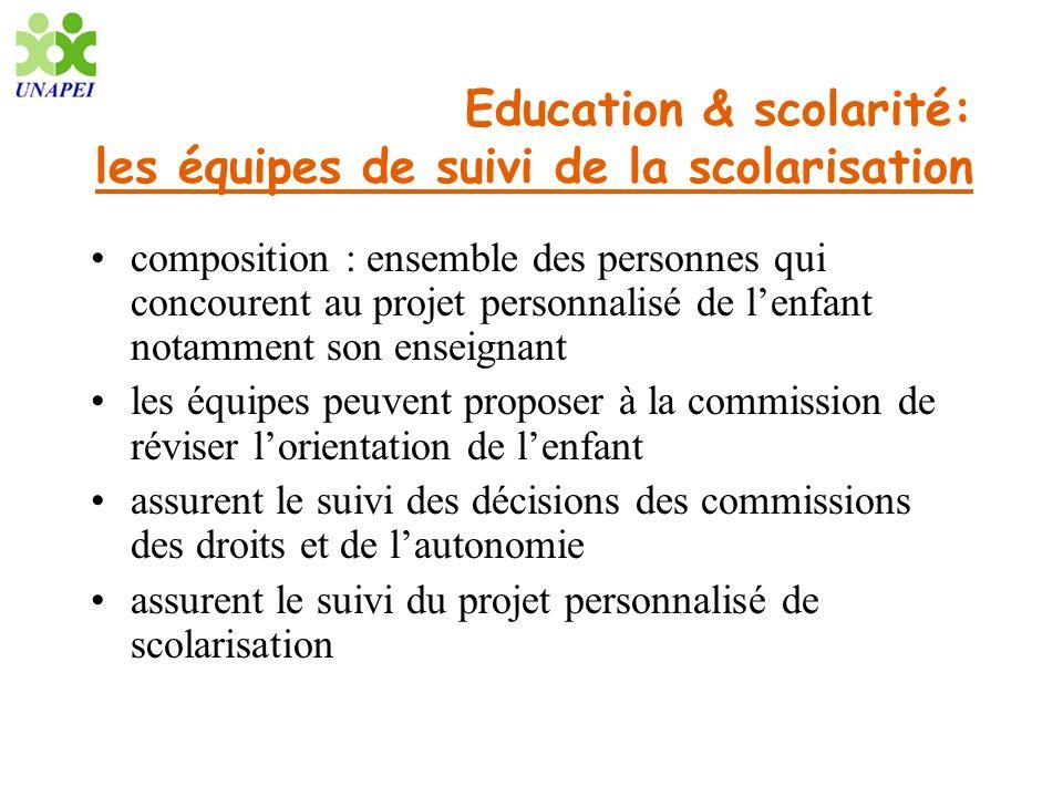 Education & scolarité: les équipes de suivi de la scolarisation composition : ensemble des personnes qui concourent au projet personnalisé de lenfant
