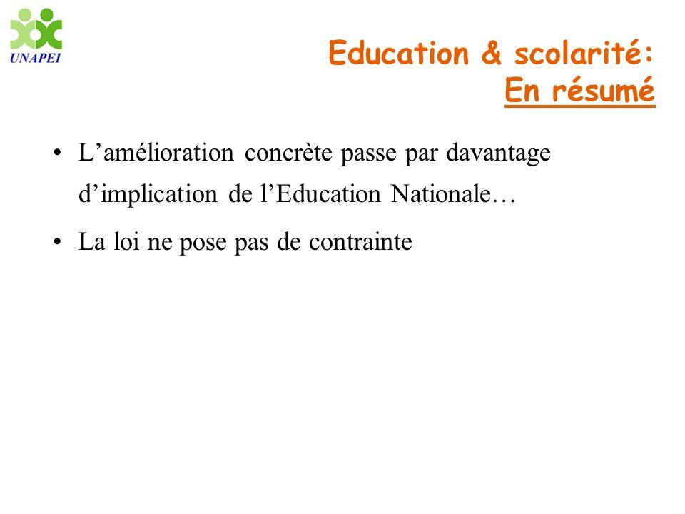 Education & scolarité: En résumé Lamélioration concrète passe par davantage dimplication de lEducation Nationale… La loi ne pose pas de contrainte