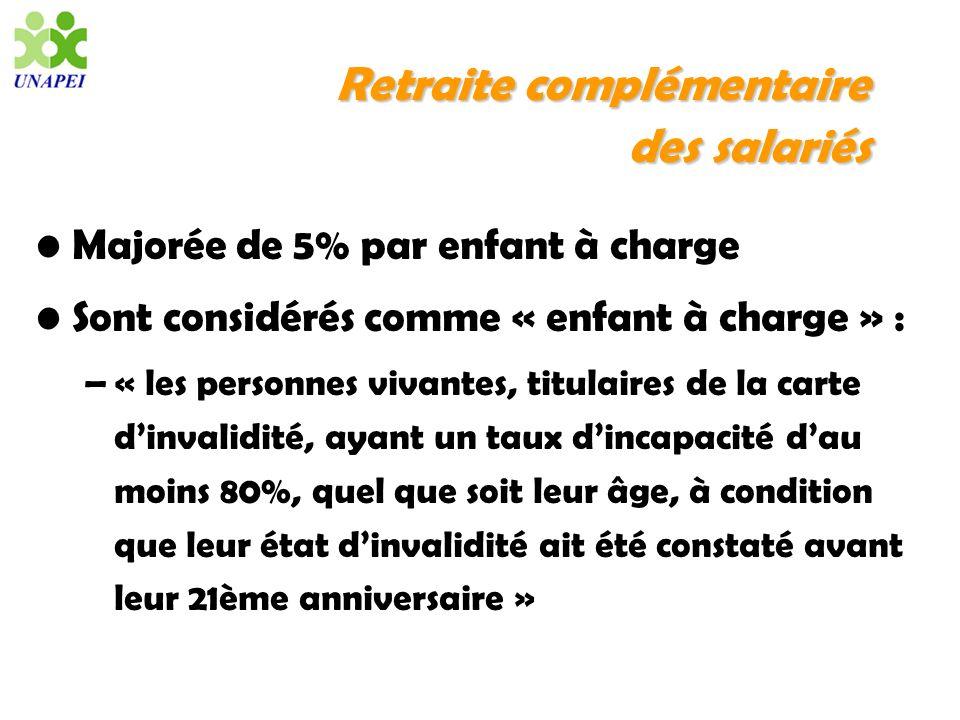 Retraite complémentaire dessalariés Retraite complémentaire des salariés Majorée de 5% par enfant à charge Sont considérés comme « enfant à charge » :