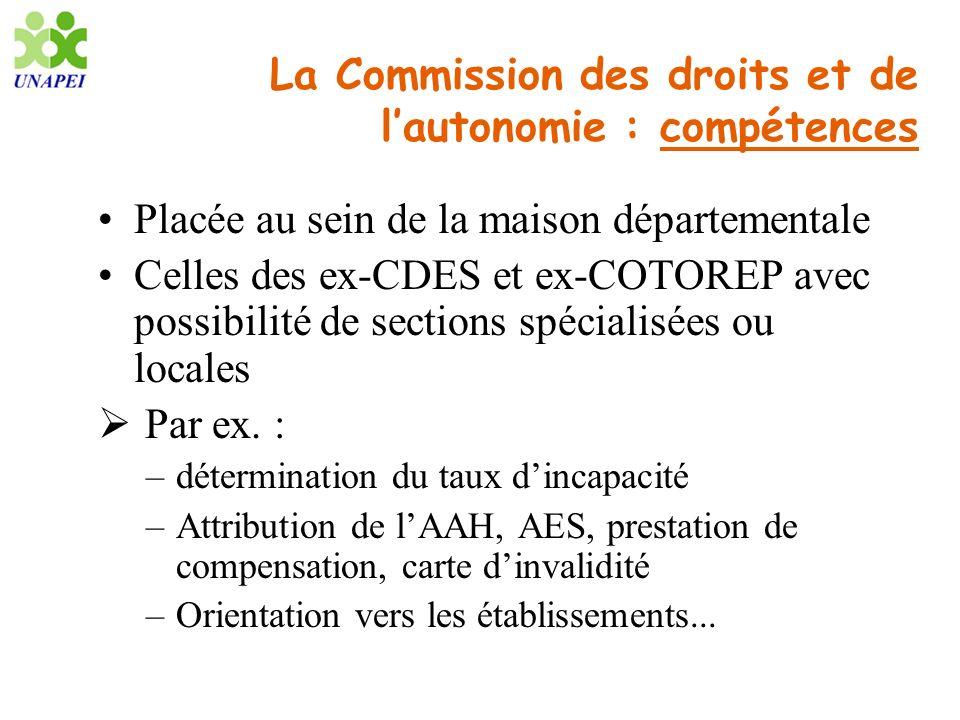 La Commission des droits et de lautonomie : compétences Placée au sein de la maison départementale Celles des ex-CDES et ex-COTOREP avec possibilité d