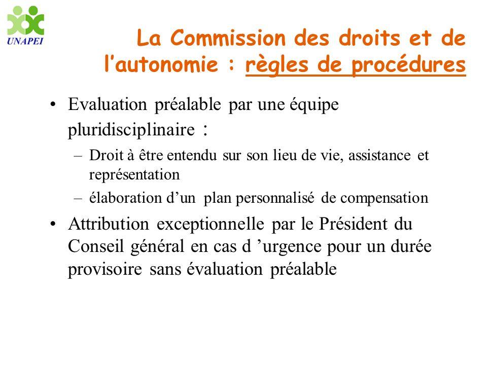 La Commission des droits et de lautonomie : règles de procédures Evaluation préalable par une équipe pluridisciplinaire : –Droit à être entendu sur so