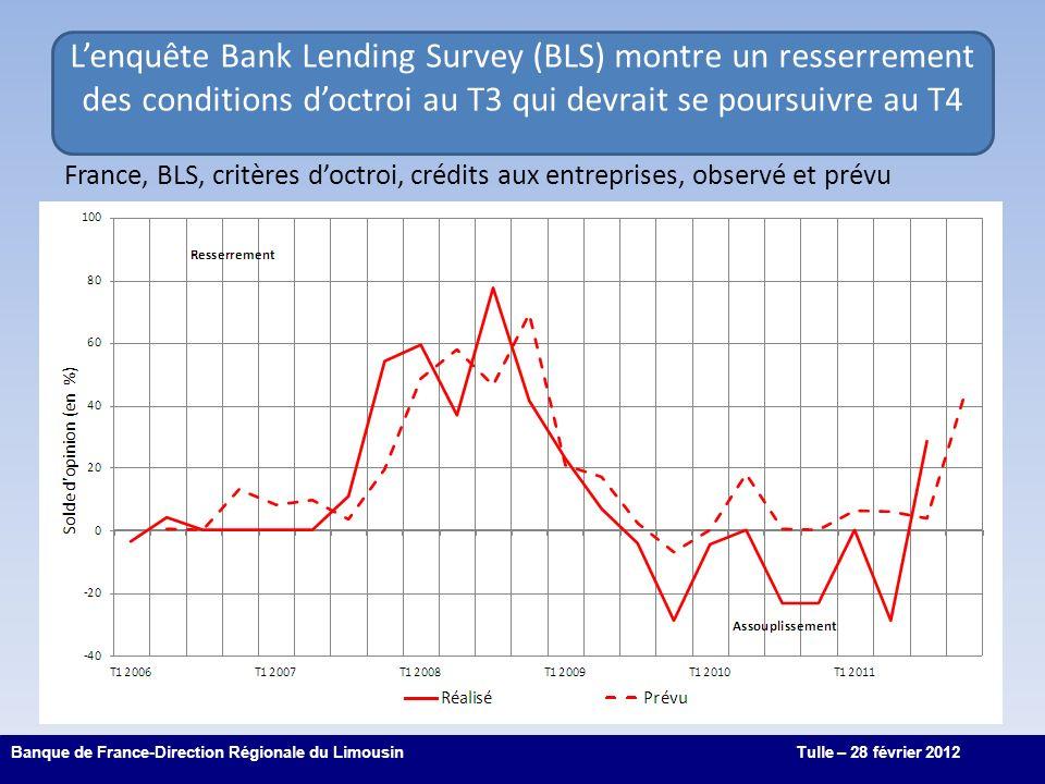 4 Lenquête Bank Lending Survey (BLS) montre un resserrement des conditions doctroi au T3 qui devrait se poursuivre au T4 Banque de France-Direction Régionale du LimousinTulle – 28 février 2012 France, BLS, critères doctroi, crédits aux entreprises, observé et prévu