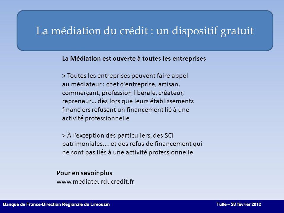 La médiation du crédit : un dispositif gratuit 6 Banque de France-Direction Régionale du LimousinTulle – 28 février 2012 La Médiation est ouverte à to
