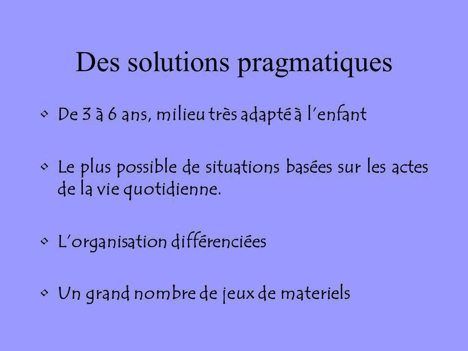 Des solutions pragmatiques De 3 à 6 ans, milieu très adapté à lenfant Le plus possible de situations basées sur les actes de la vie quotidienne. Lorga