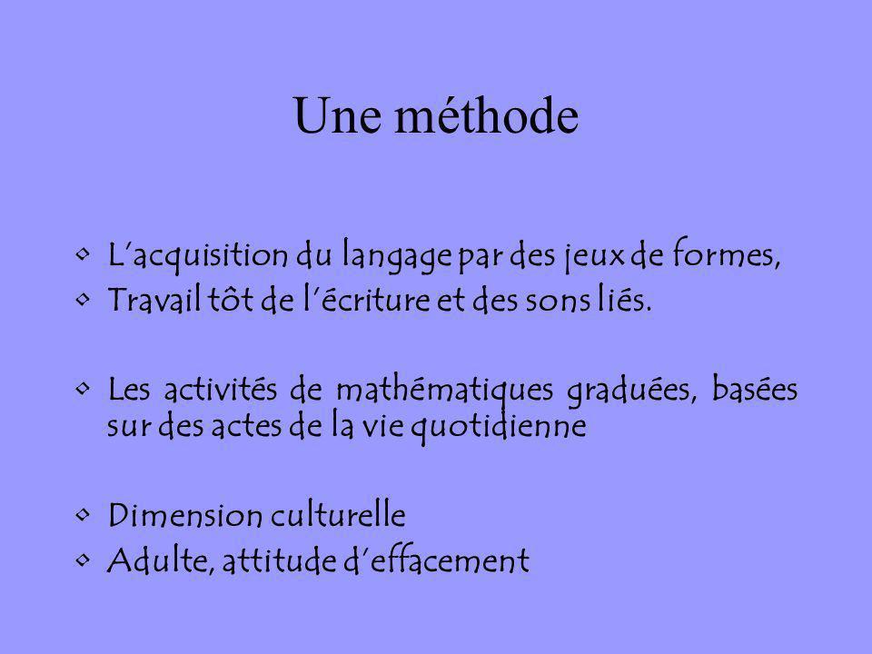 Une méthode Lacquisition du langage par des jeux de formes, Travail tôt de lécriture et des sons liés. Les activités de mathématiques graduées, basées