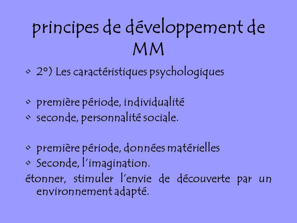 principes de développement de MM 2°) Les caractéristiques psychologiques première période, individualité seconde, personnalité sociale. première pério