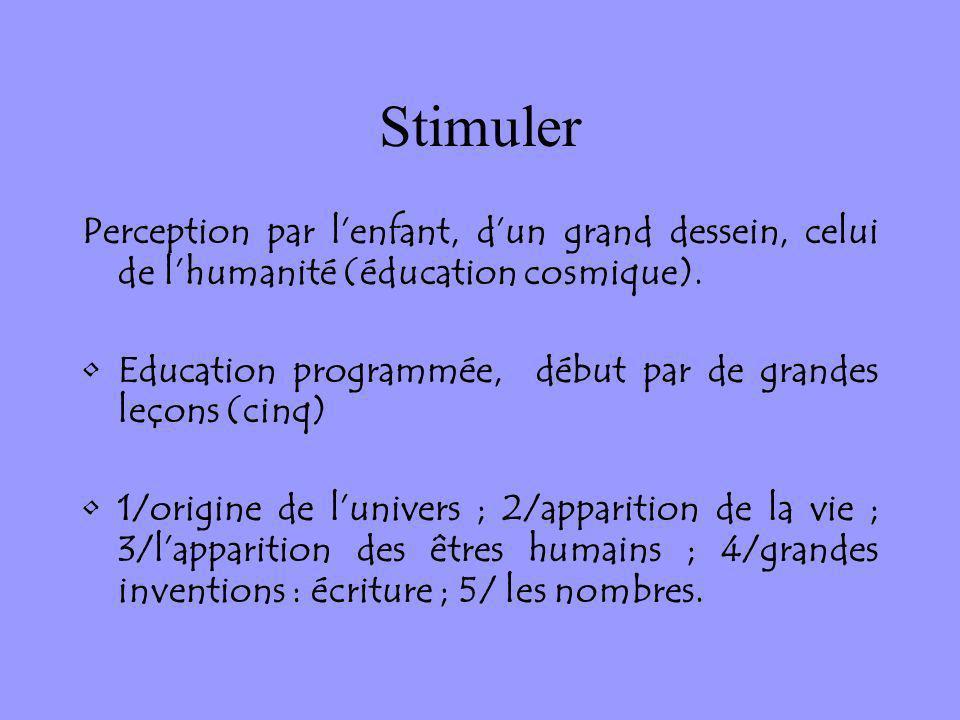 Stimuler Perception par lenfant, dun grand dessein, celui de lhumanité (éducation cosmique). Education programmée, début par de grandes leçons (cinq)