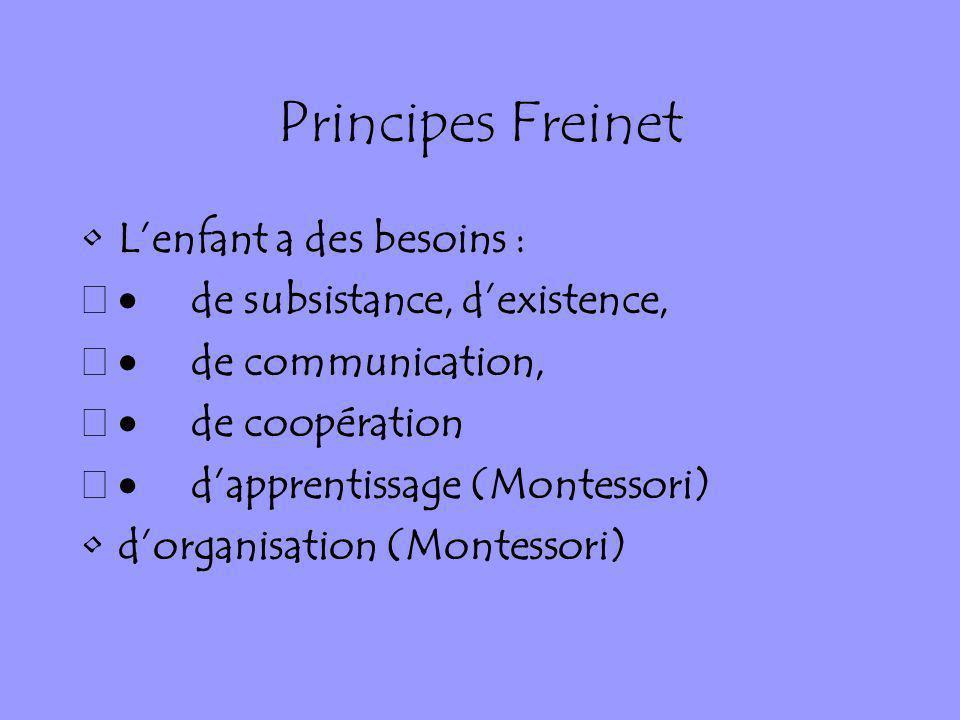 Principes Freinet Lenfant a des besoins : de subsistance, dexistence, de communication, de coopération dapprentissage (Montessori) dorganisation (Mont