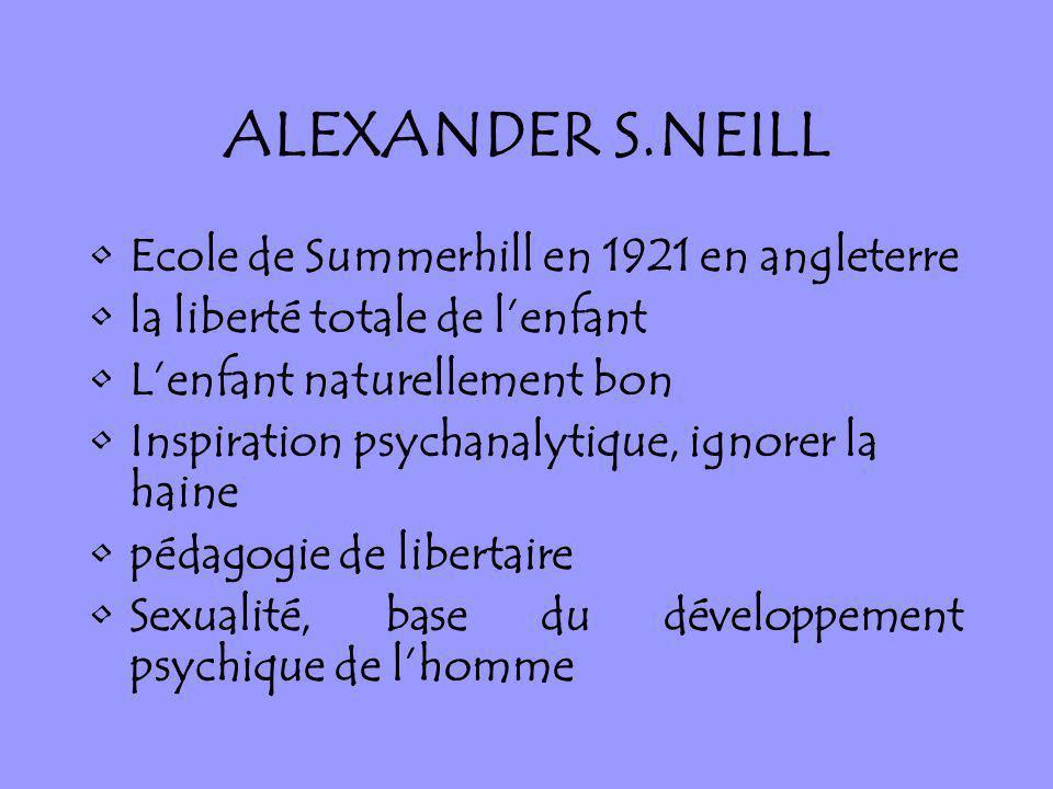 ALEXANDER S.NEILL Ecole de Summerhill en 1921 en angleterre la liberté totale de lenfant Lenfant naturellement bon Inspiration psychanalytique, ignore