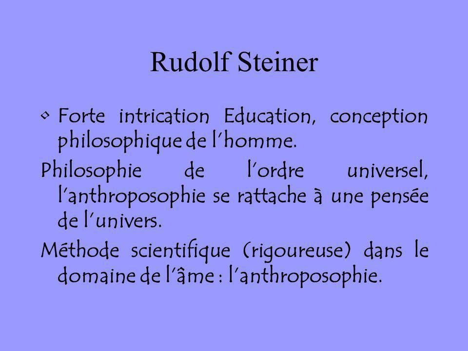 Rudolf Steiner Forte intrication Education, conception philosophique de lhomme. Philosophie de lordre universel, lanthroposophie se rattache à une pen