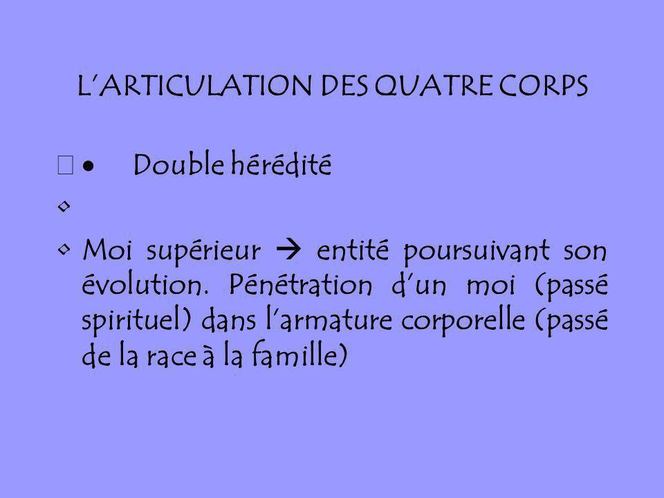 LARTICULATION DES QUATRE CORPS Double hérédité Moi supérieur entité poursuivant son évolution. Pénétration dun moi (passé spirituel) dans larmature co
