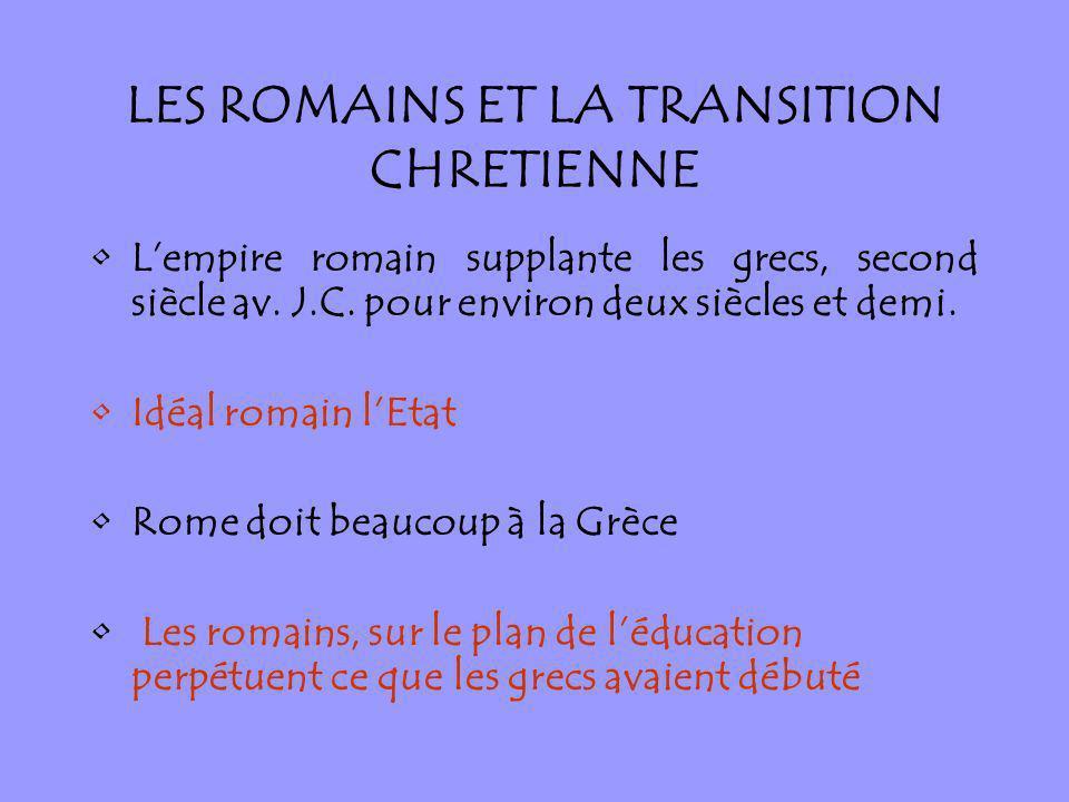 LES ROMAINS ET LA TRANSITION CHRETIENNE Lempire romain supplante les grecs, second siècle av. J.C. pour environ deux siècles et demi. Idéal romain lEt