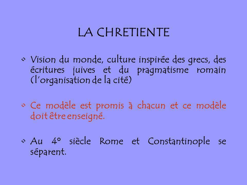 LA CHRETIENTE Vision du monde, culture inspirée des grecs, des écritures juives et du pragmatisme romain (lorganisation de la cité) Ce modèle est prom
