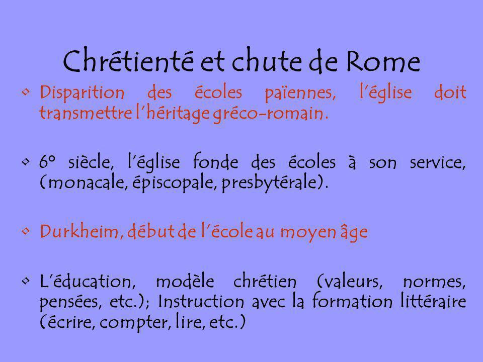 Chrétienté et chute de Rome Disparition des écoles païennes, léglise doit transmettre lhéritage gréco-romain. 6° siècle, léglise fonde des écoles à so