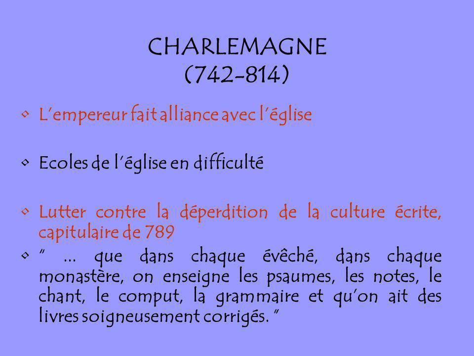 CHARLEMAGNE (742-814) Lempereur fait alliance avec léglise Ecoles de léglise en difficulté Lutter contre la déperdition de la culture écrite, capitula