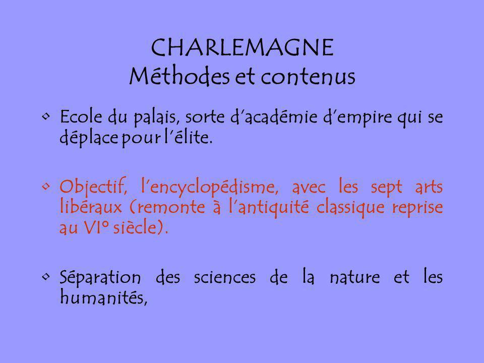 CHARLEMAGNE Méthodes et contenus Ecole du palais, sorte dacadémie dempire qui se déplace pour lélite. Objectif, lencyclopédisme, avec les sept arts li