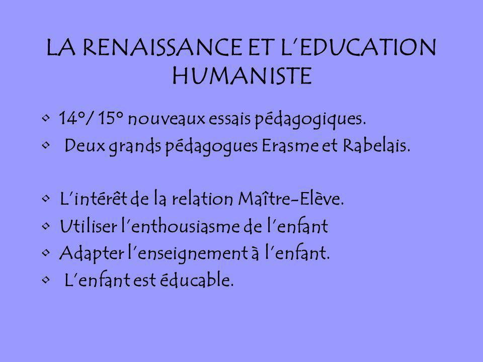 LA RENAISSANCE ET LEDUCATION HUMANISTE 14°/ 15° nouveaux essais pédagogiques. Deux grands pédagogues Erasme et Rabelais. Lintérêt de la relation Maîtr
