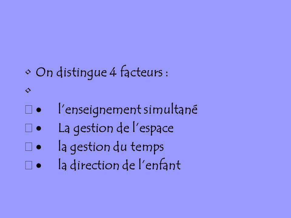 On distingue 4 facteurs : lenseignement simultané La gestion de lespace la gestion du temps la direction de lenfant