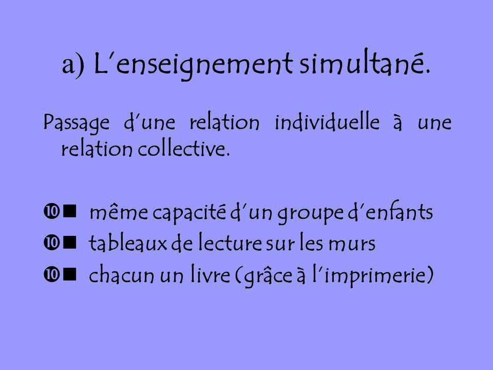 a) Lenseignement simultané. Passage dune relation individuelle à une relation collective. même capacité dun groupe denfants tableaux de lecture sur le