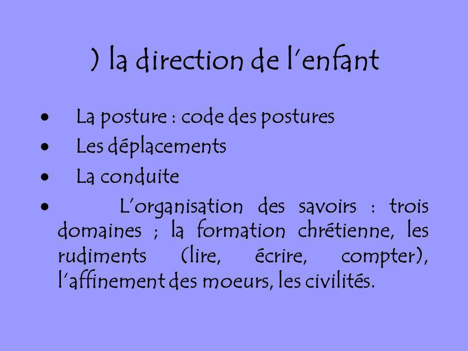 ) la direction de lenfant La posture : code des postures Les déplacements La conduite Lorganisation des savoirs : trois domaines ; la formation chréti