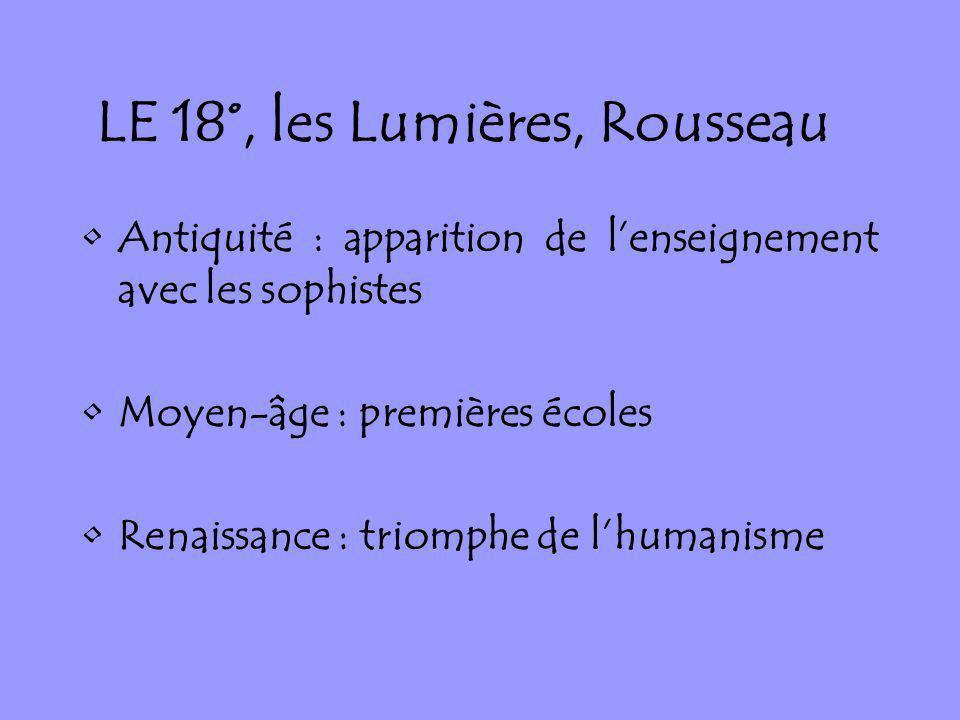LE 18°, les Lumières, Rousseau Antiquité : apparition de lenseignement avec les sophistes Moyen-âge : premières écoles Renaissance : triomphe de lhuma