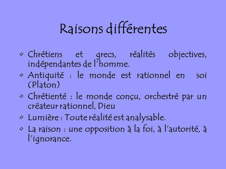 Raisons différentes Chrétiens et grecs, réalités objectives, indépendantes de lhomme. Antiquité : le monde est rationnel en soi (Platon) Chrétienté :