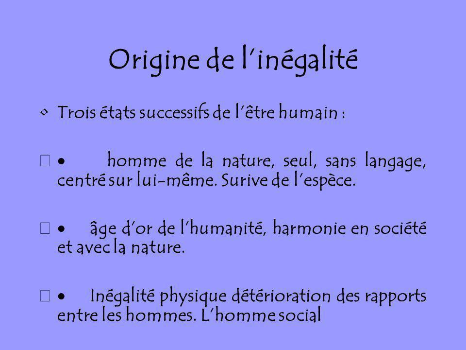 Origine de linégalité Trois états successifs de lêtre humain : homme de la nature, seul, sans langage, centré sur lui-même. Surive de lespèce. âge dor