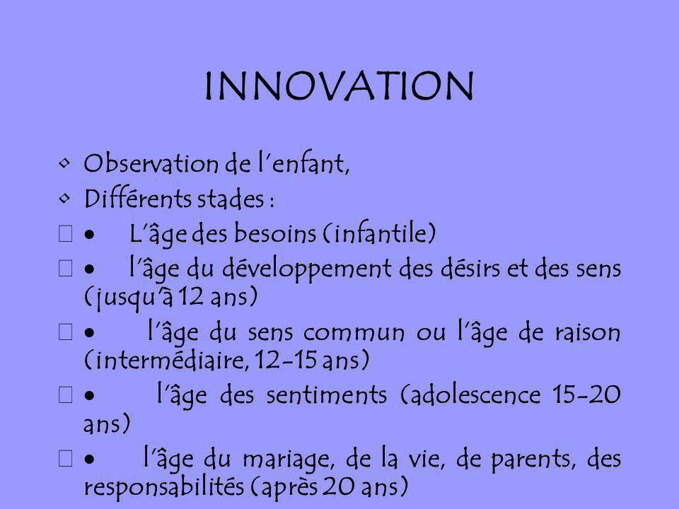 INNOVATION Observation de lenfant, Différents stades : Lâge des besoins (infantile) lâge du développement des désirs et des sens (jusqu'à 12 ans) lâge