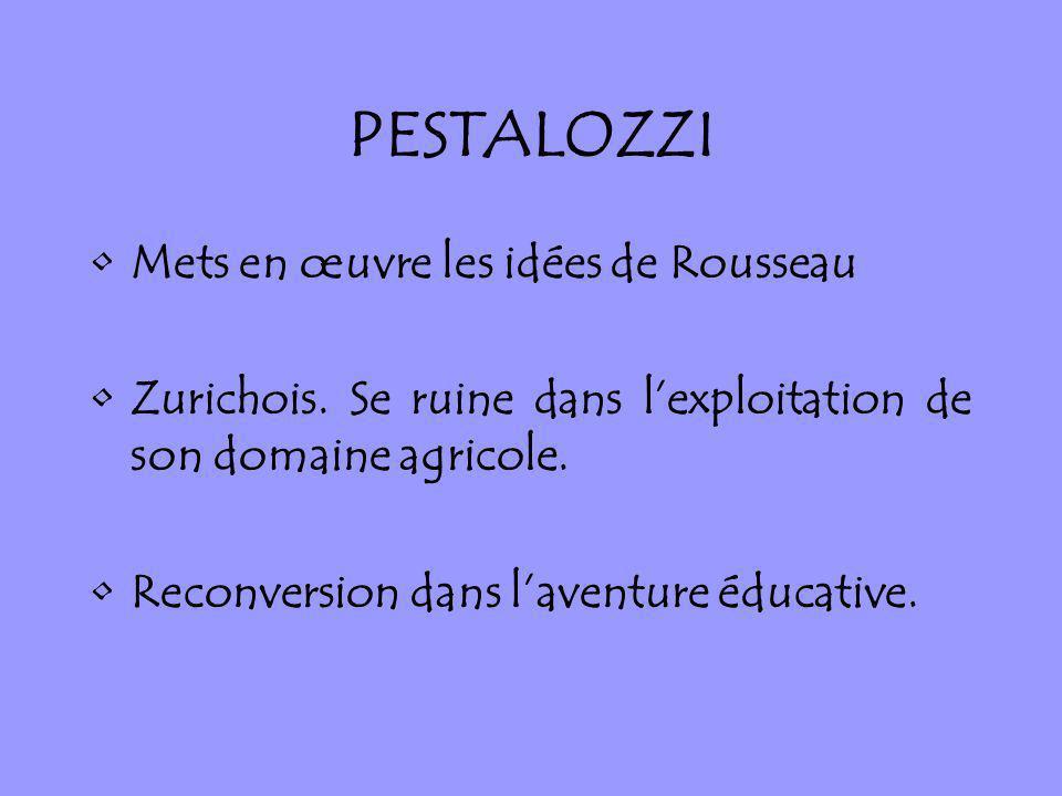 Mets en œuvre les idées de Rousseau Zurichois. Se ruine dans lexploitation de son domaine agricole. Reconversion dans laventure éducative.