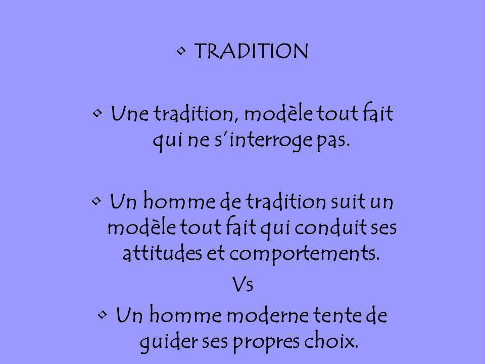 TRADITION Une tradition, modèle tout fait qui ne sinterroge pas. Un homme de tradition suit un modèle tout fait qui conduit ses attitudes et comportem