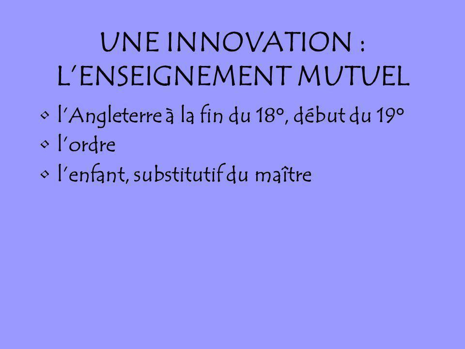 UNE INNOVATION : LENSEIGNEMENT MUTUEL lAngleterre à la fin du 18°, début du 19° lordre lenfant, substitutif du maître