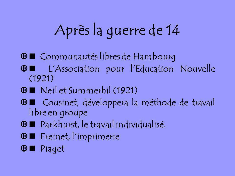 Après la guerre de 14 Communautés libres de Hambourg LAssociation pour lEducation Nouvelle (1921) Neil et Summerhil (1921) Cousinet, développera la mé