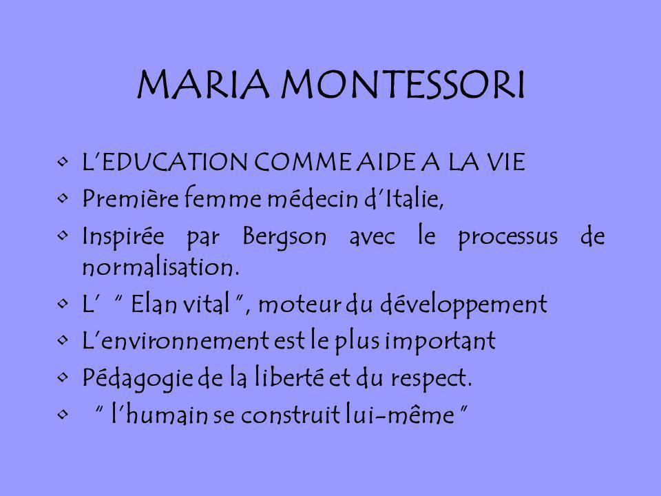 MARIA MONTESSORI LEDUCATION COMME AIDE A LA VIE Première femme médecin dItalie, Inspirée par Bergson avec le processus de normalisation. L Elan vital,