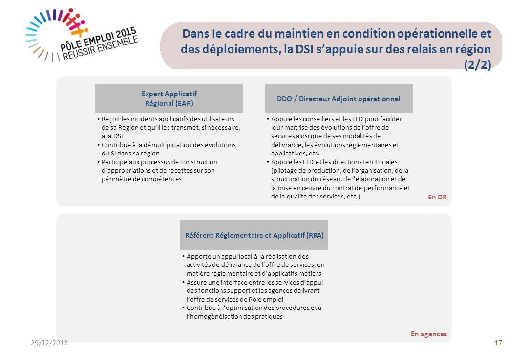 En agences En DR Dans le cadre du maintien en condition opérationnelle et des déploiements, la DSI sappuie sur des relais en région (2/2) 29/12/201317