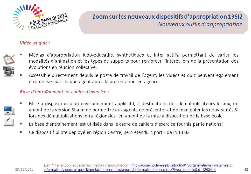 29/12/201342 Zoom sur les nouveaux dispositifs dappropriation 13SI2 Nouveaux outils dappropriation Vidéo et quiz : Médias dappropriation ludo-éducatif