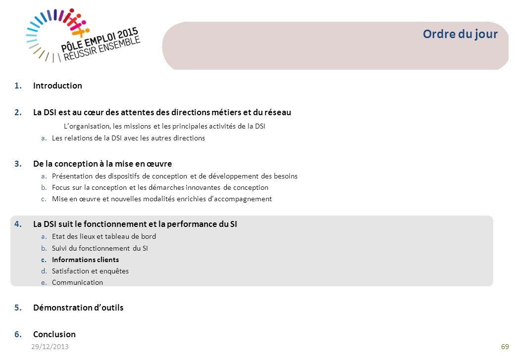 Ordre du jour 1.Introduction 2.La DSI est au cœur des attentes des directions métiers et du réseau Lorganisation, les missions et les principales acti