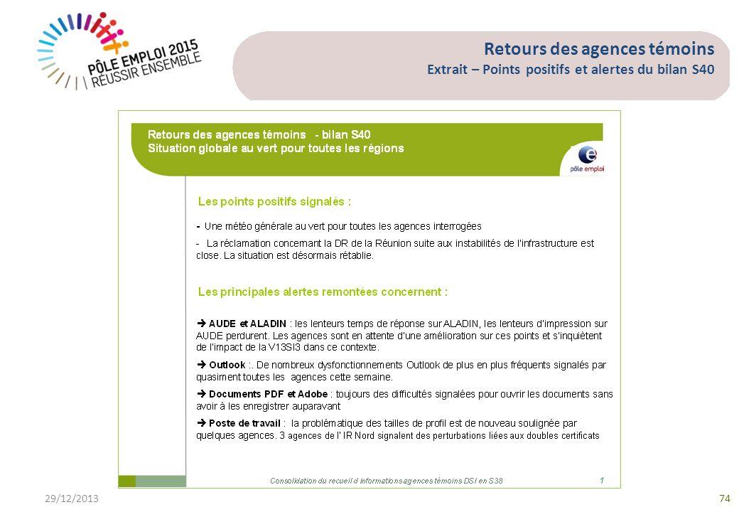 Retours des agences témoins Extrait – Points positifs et alertes du bilan S40 29/12/201374