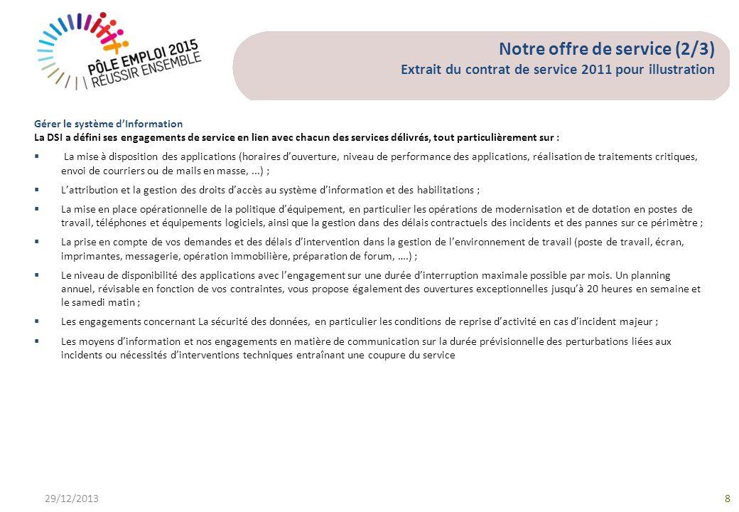 Notre offre de service (2/3) Extrait du contrat de service 2011 pour illustration 29/12/20138 Gérer le système dInformation La DSI a défini ses engage