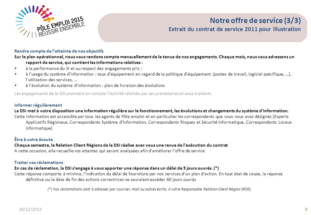 Notre offre de service (3/3) Extrait du contrat de service 2011 pour illustration 29/12/20139 Rendre compte de latteinte de nos objectifs Sur le plan