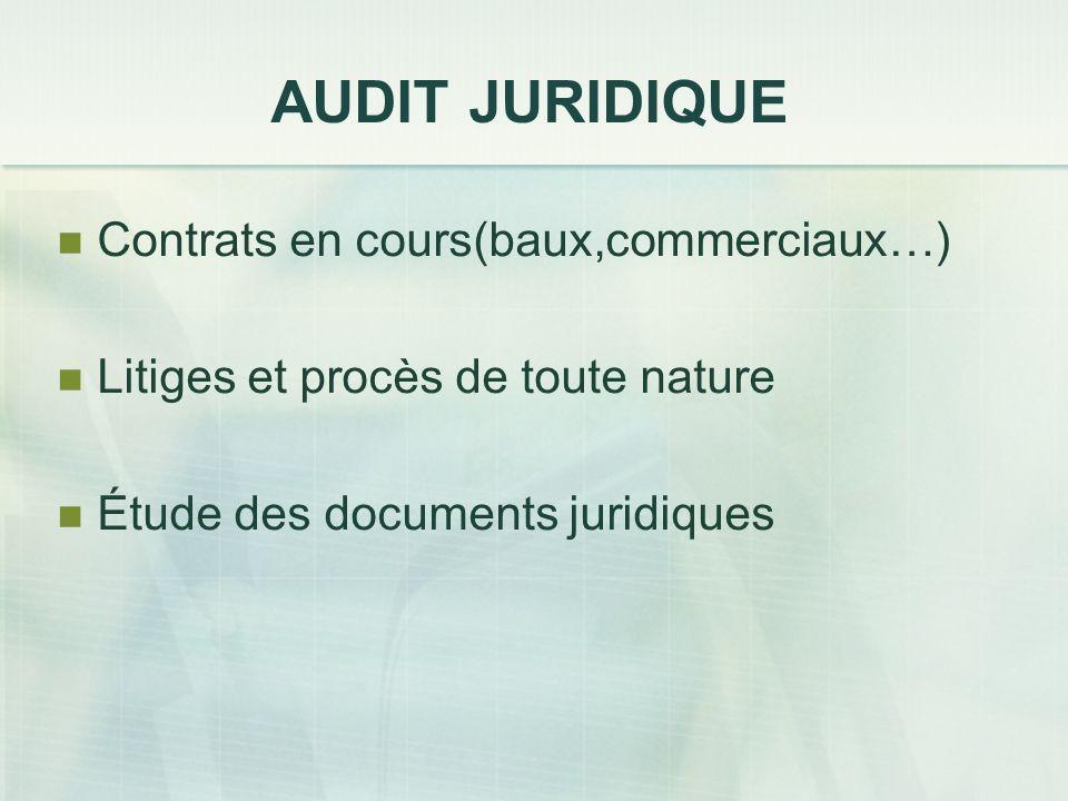 AUDIT JURIDIQUE Contrats en cours(baux,commerciaux…) Litiges et procès de toute nature Étude des documents juridiques