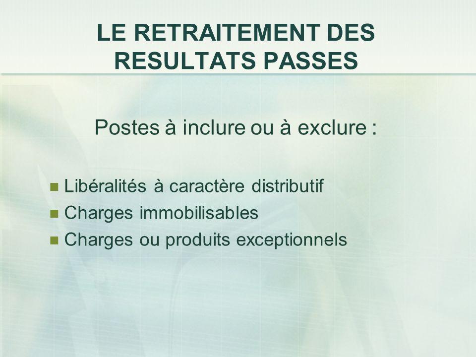 LE RETRAITEMENT DES RESULTATS PASSES Postes à inclure ou à exclure : Libéralités à caractère distributif Charges immobilisables Charges ou produits ex